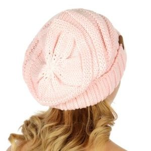 C.C. Beanie Ribbed knit slouchy beanie in PINK